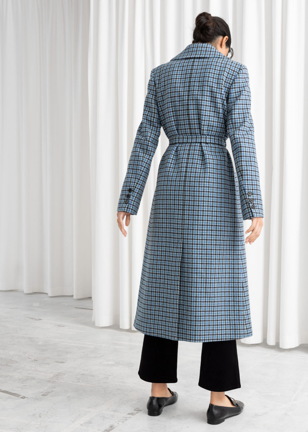 Model back image of Stories a-line wool blend belted coat in blue