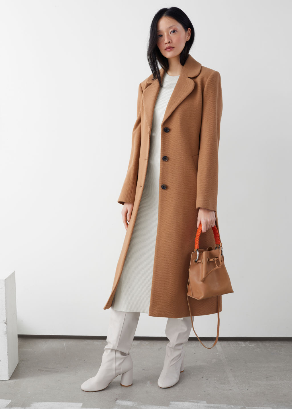 Model front image of Stories a-line wool blend belted coat in beige