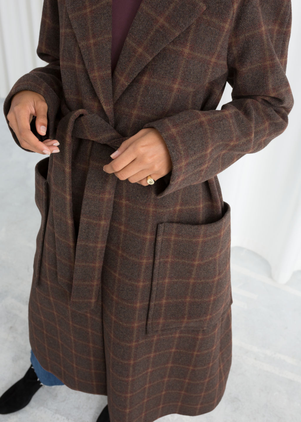 Model back image of Stories belted wool blend check coat in brown