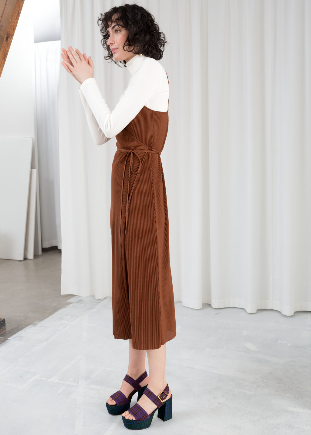Model front image of Stories ribbed wrap midi dress in beige