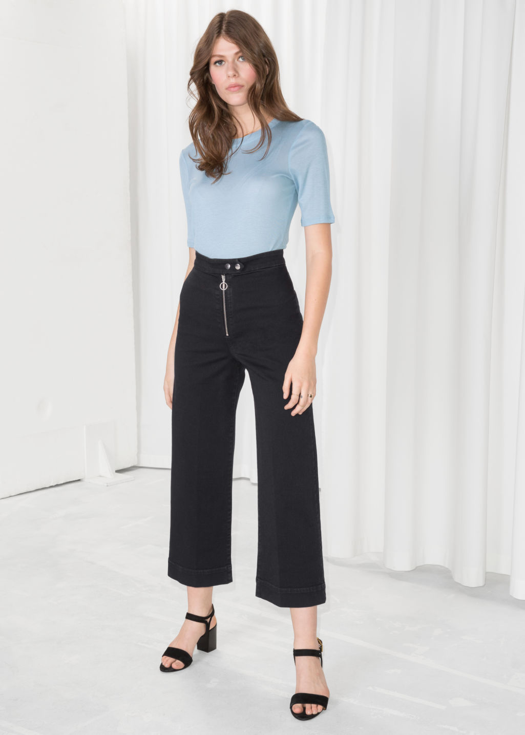Model front image of Stories faded denim culottes  in black