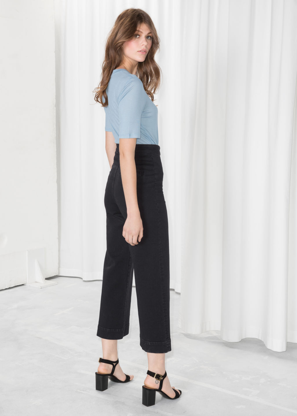 Model back image of Stories faded denim culottes  in black