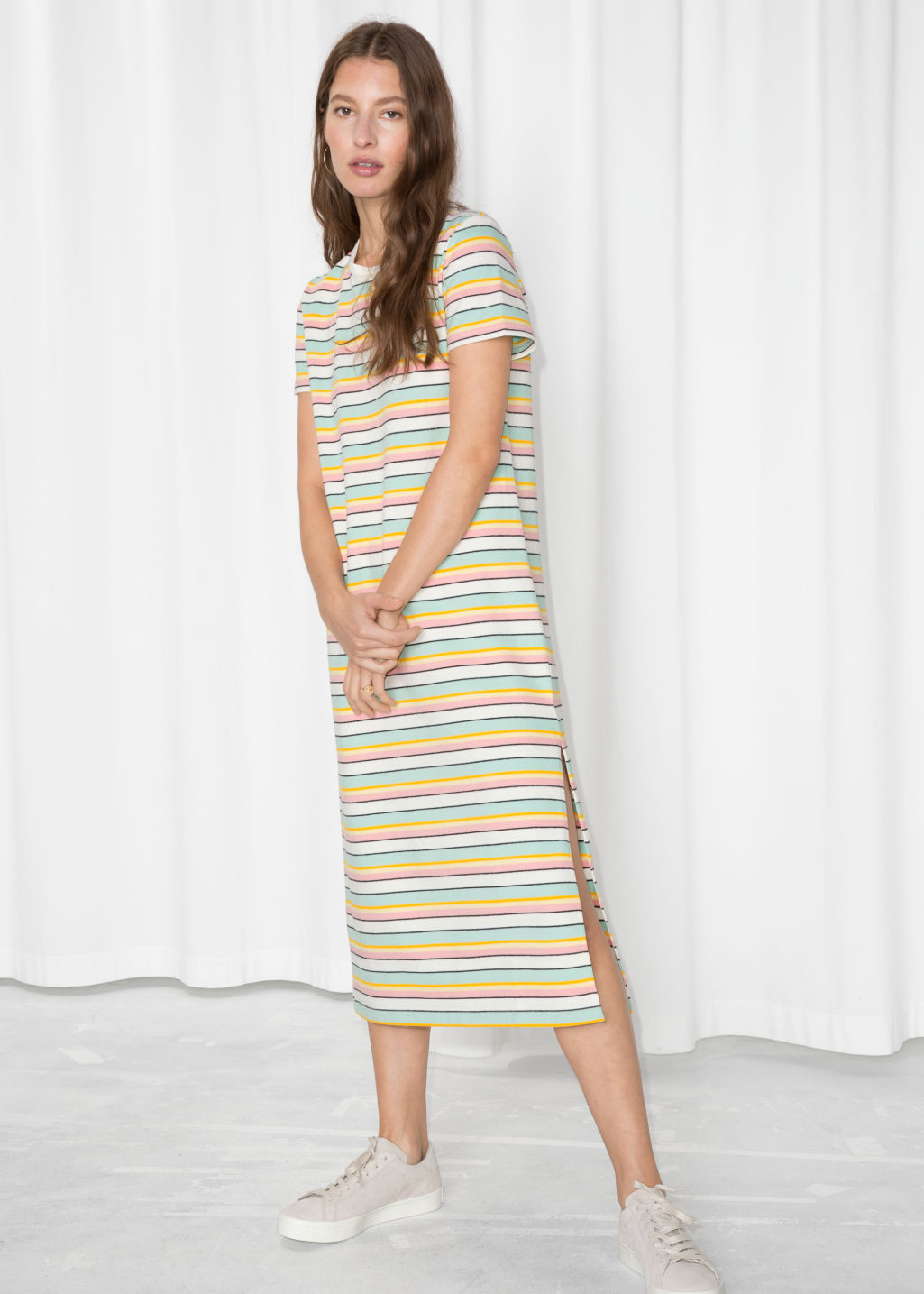 Model front image of Stories striped midi shirt dress in white