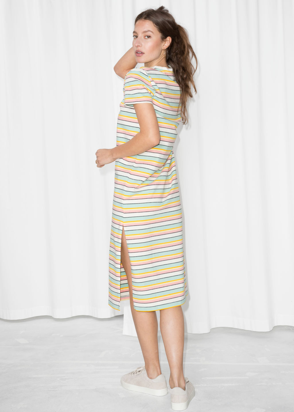 Model back image of Stories striped midi shirt dress in white