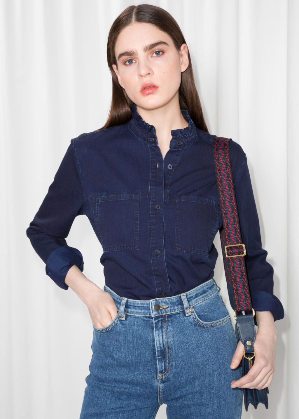 Model front image of Stories denim utilitarian shirt in blue
