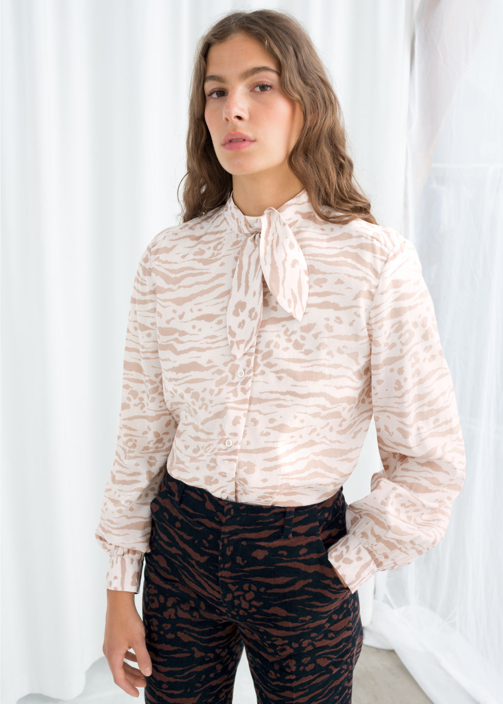 f948252160 Animal Print Pussy Bow Blouse - Animal Print - Blouses -   Other Stories