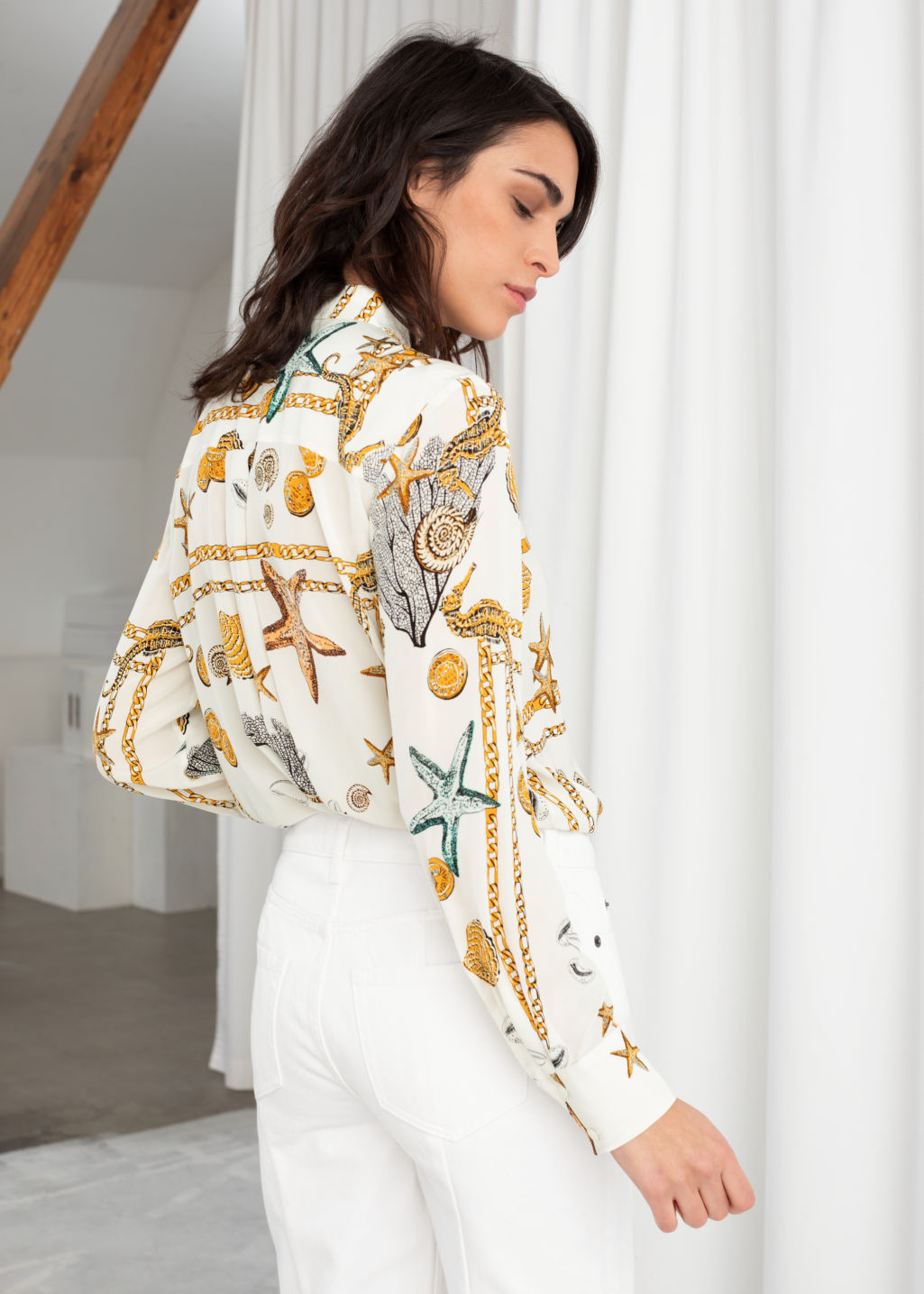 Model back image of Stories spotted button up shirt in white
