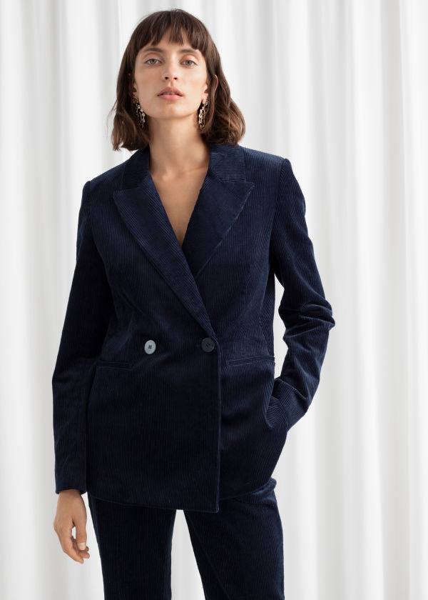 Double Breasted Corduroy Blazer