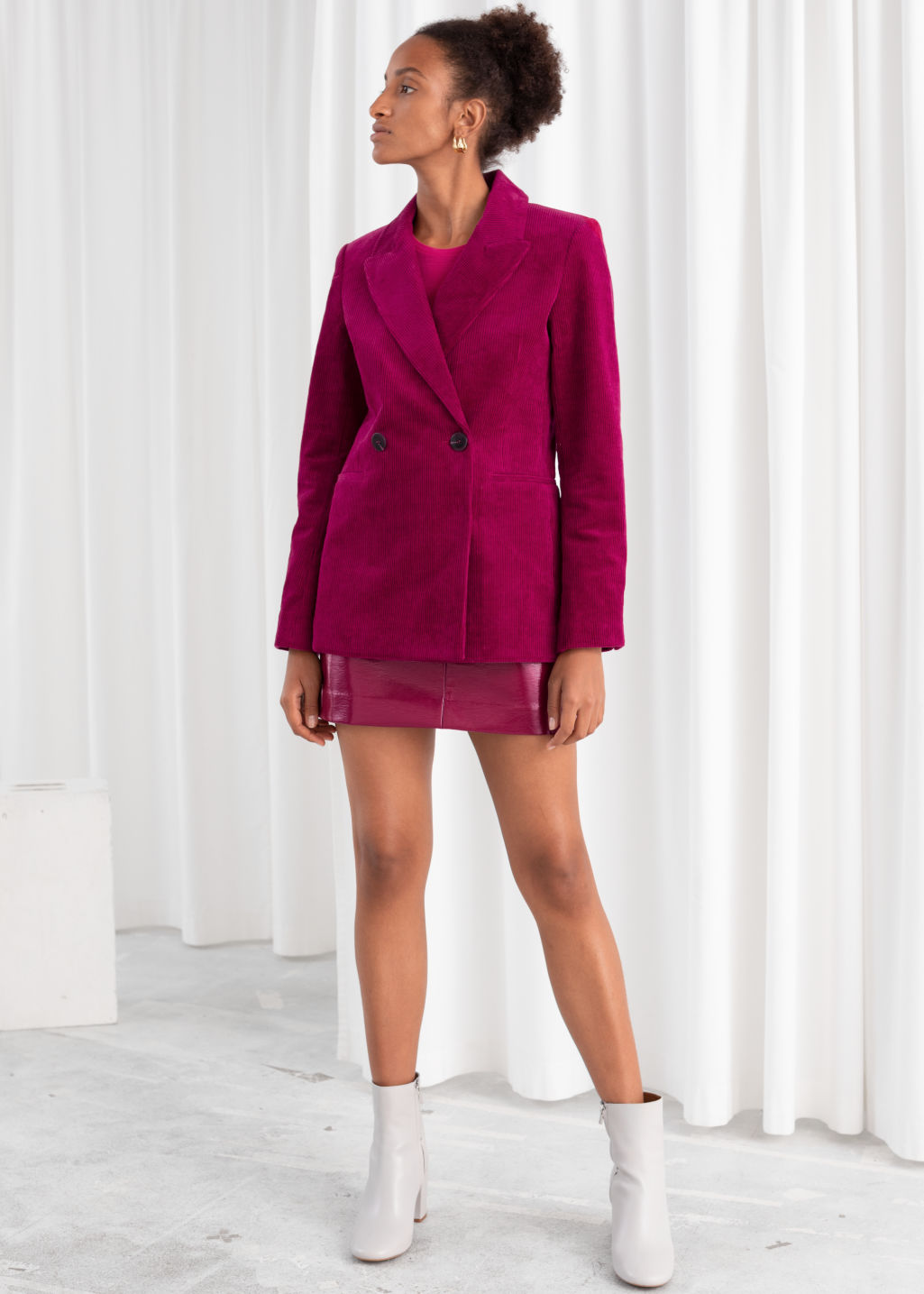 Model front image of Stories double breasted corduroy blazer in pink