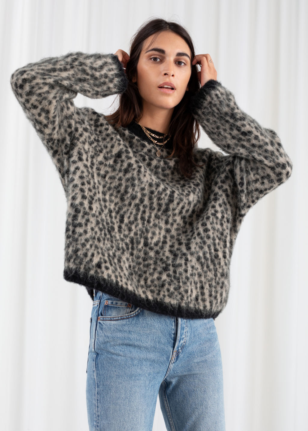 stable quality competitive price 2019 professional Leopard Knit Sweater - Grey Leopard - Patterned sweaters - & Other Stories