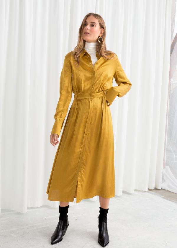 Belted Satin Midi Dress