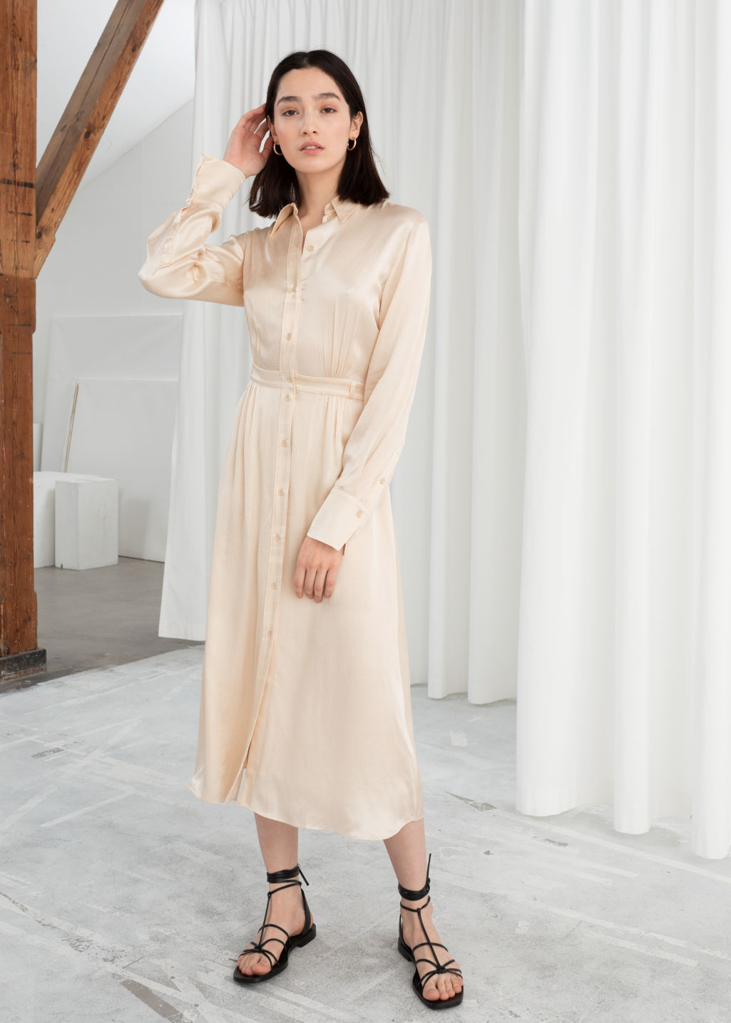 Model front image of Stories belted satin midi dress in beige ... 105813783
