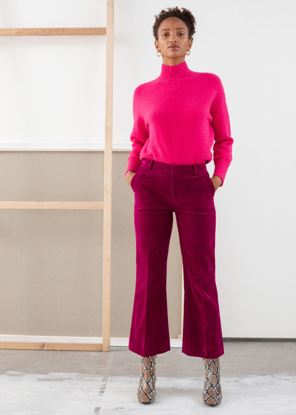 Model front image of Stories cropped wide corduroy trousers in pink
