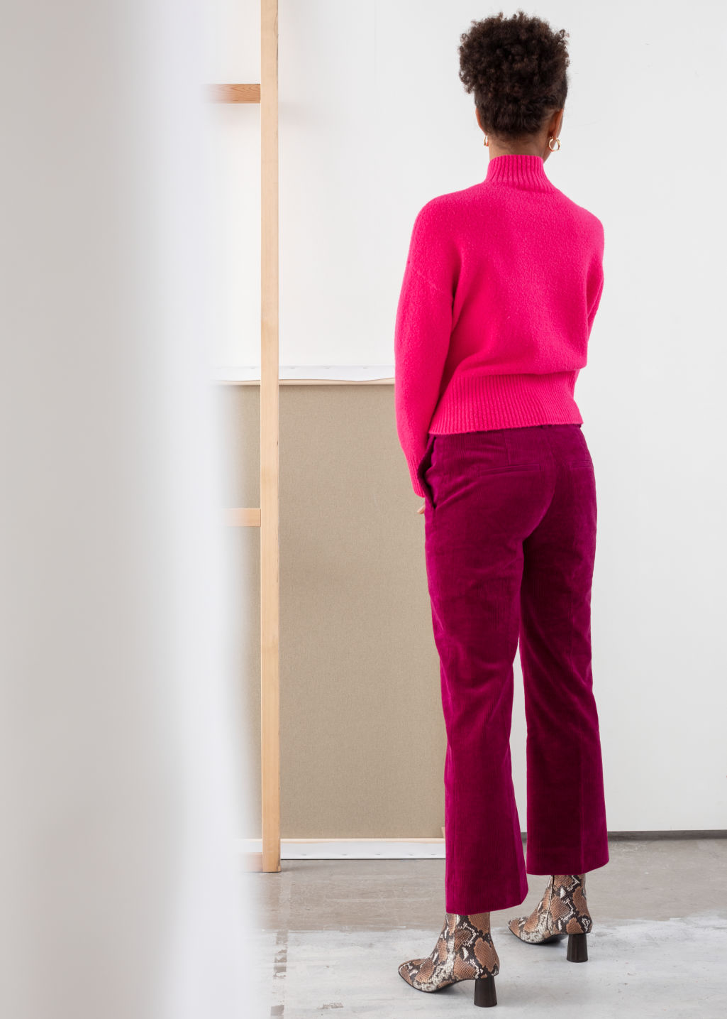 Model back image of Stories cropped wide corduroy trousers in pink