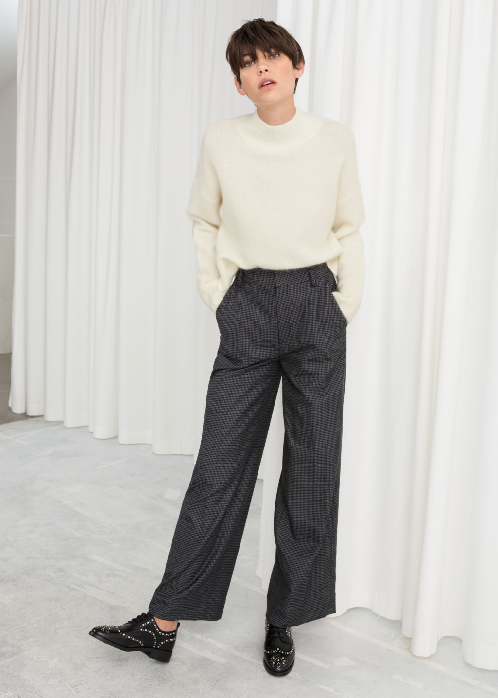 Model front image of Stories wide checked trousers in black