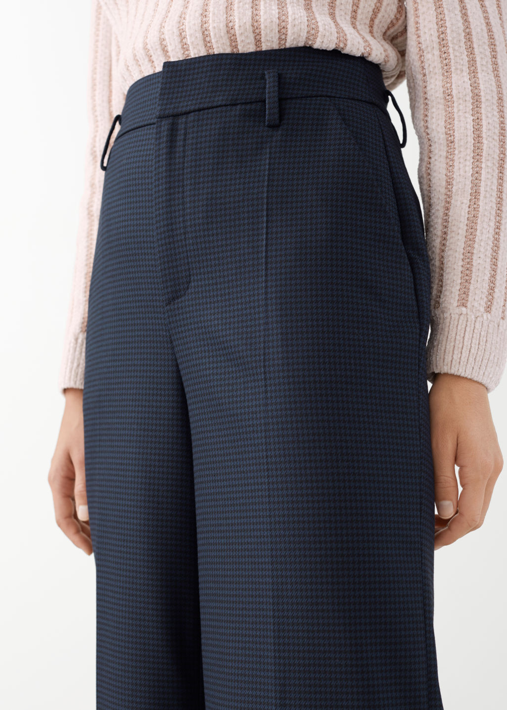 Model front image of Stories wide checked trousers in blue