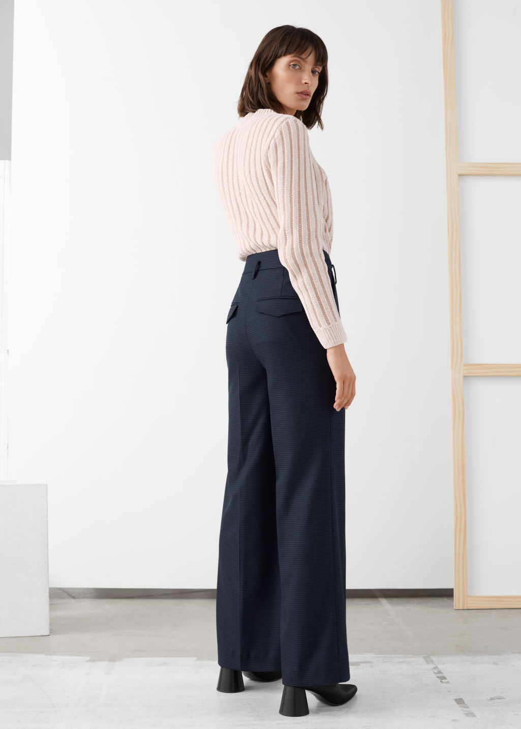 Model back image of Stories wide checked trousers in blue