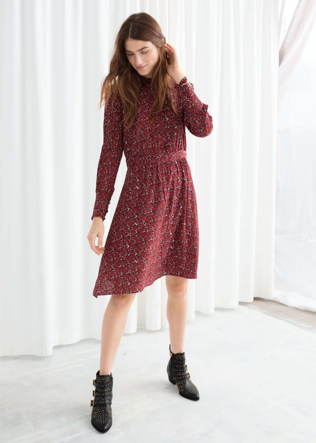 Model front image of Stories button down printed dress in red