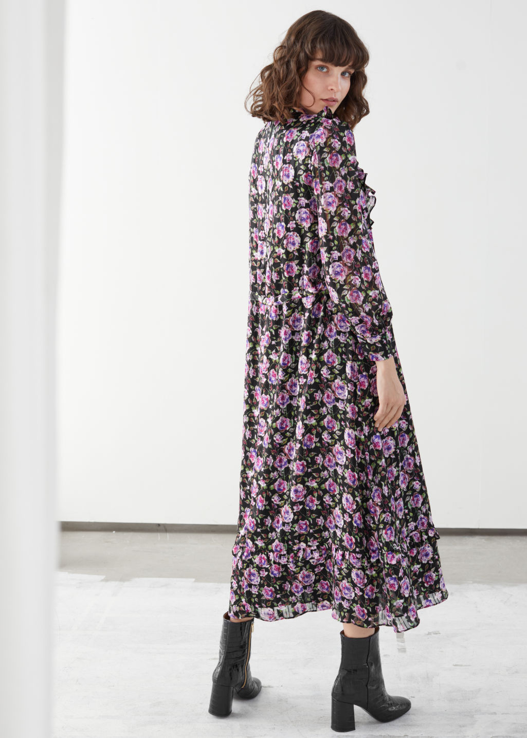 Model back image of Stories printed ruffle bib midi dress in purple