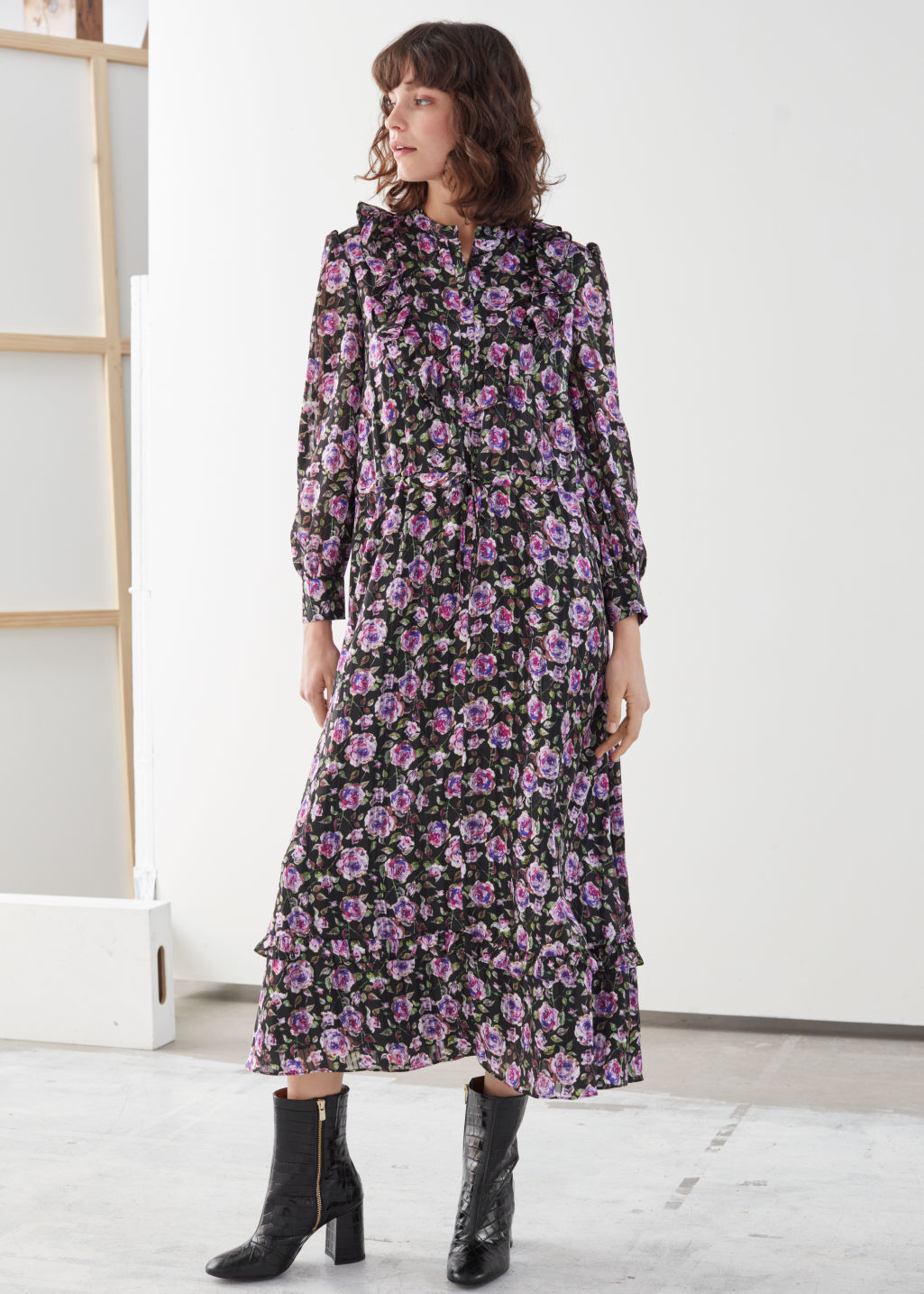 Model front image of Stories printed ruffle bib midi dress in purple