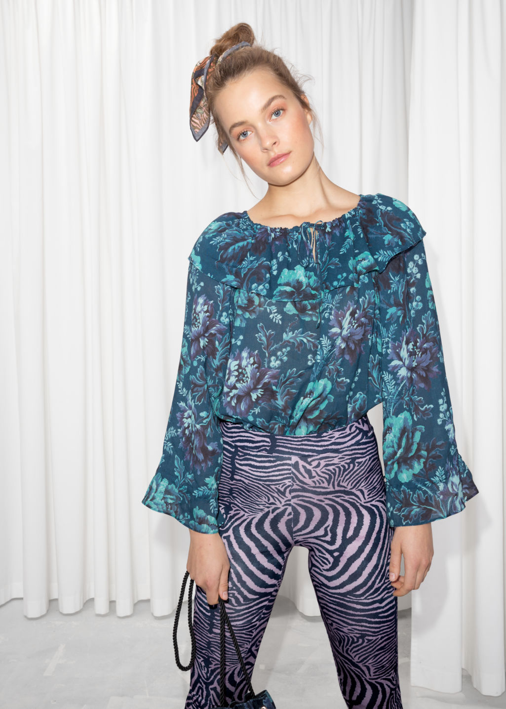 Model front image of Stories house of hackney blouse in blue