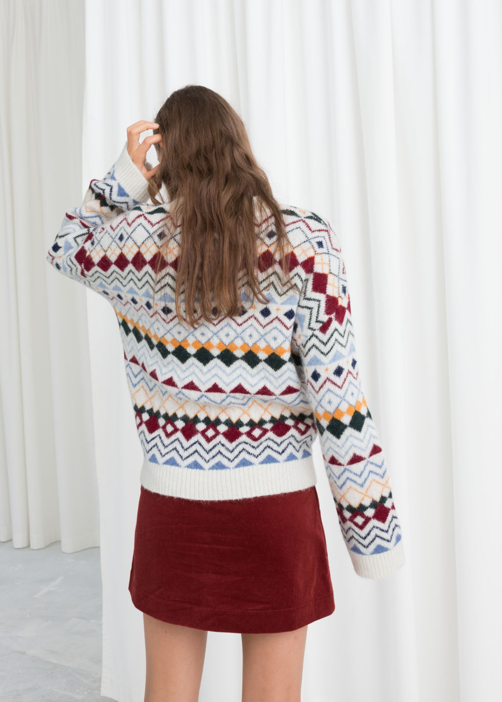 Model back image of Stories fairisle knit sweater in white