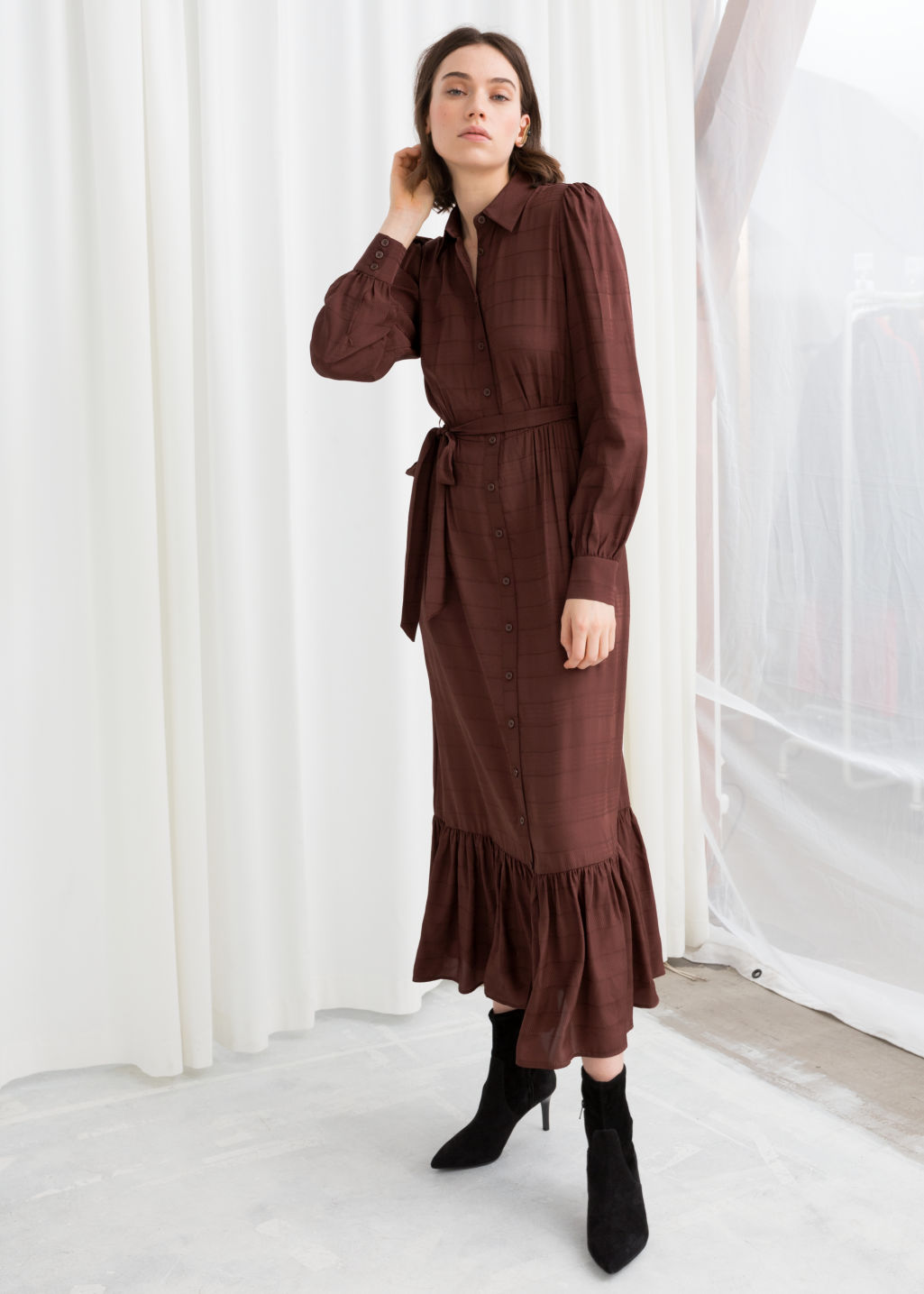 1bbbfe9e8ed8 Belted Ruffle Midi Dress - Burgundy - Maxi dresses -   Other Stories