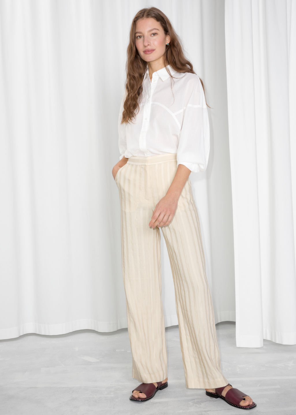 Model front image of Stories linen blend stripe trousers in beige