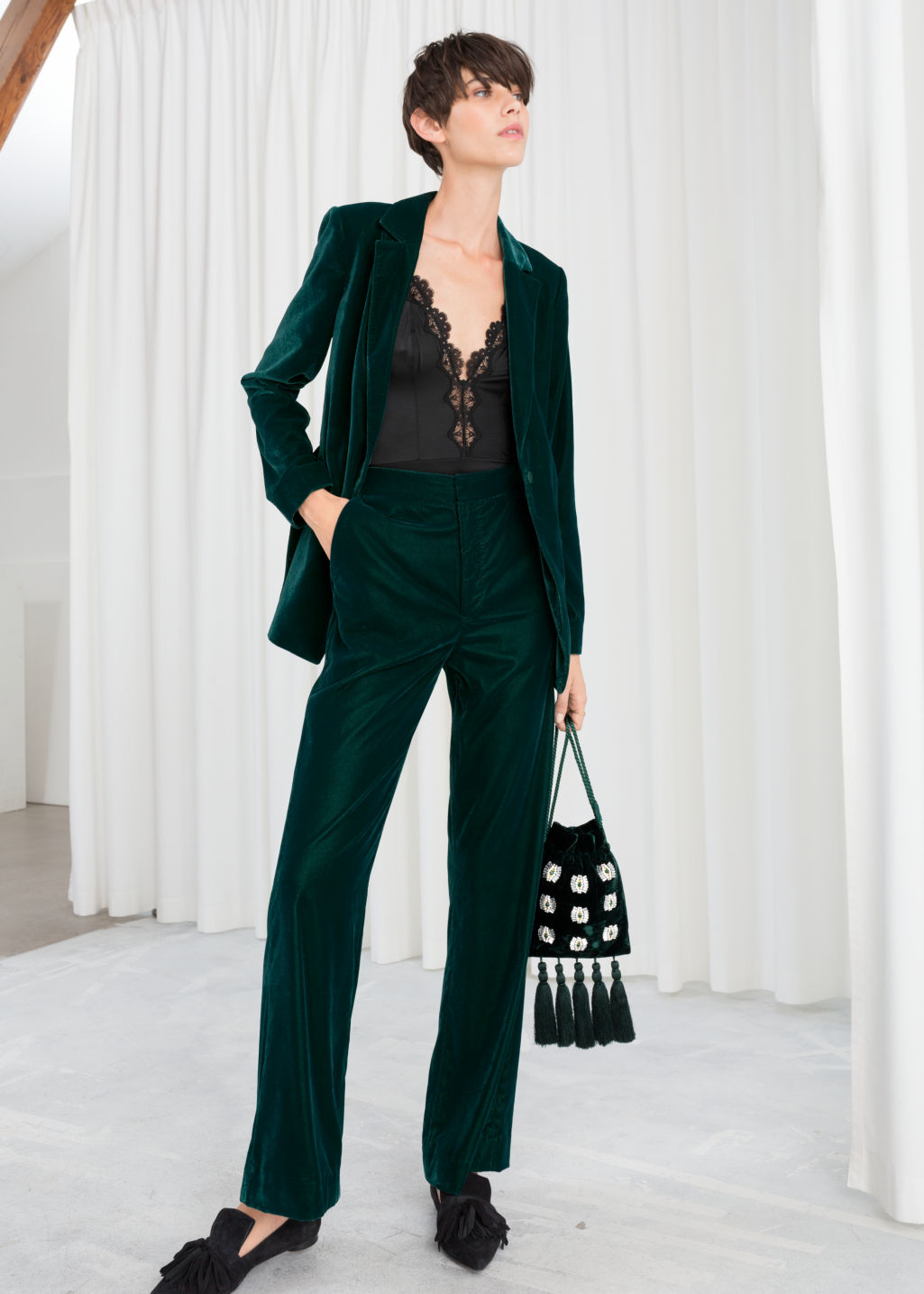 Model front image of Stories high waisted velvet trousers in turquoise