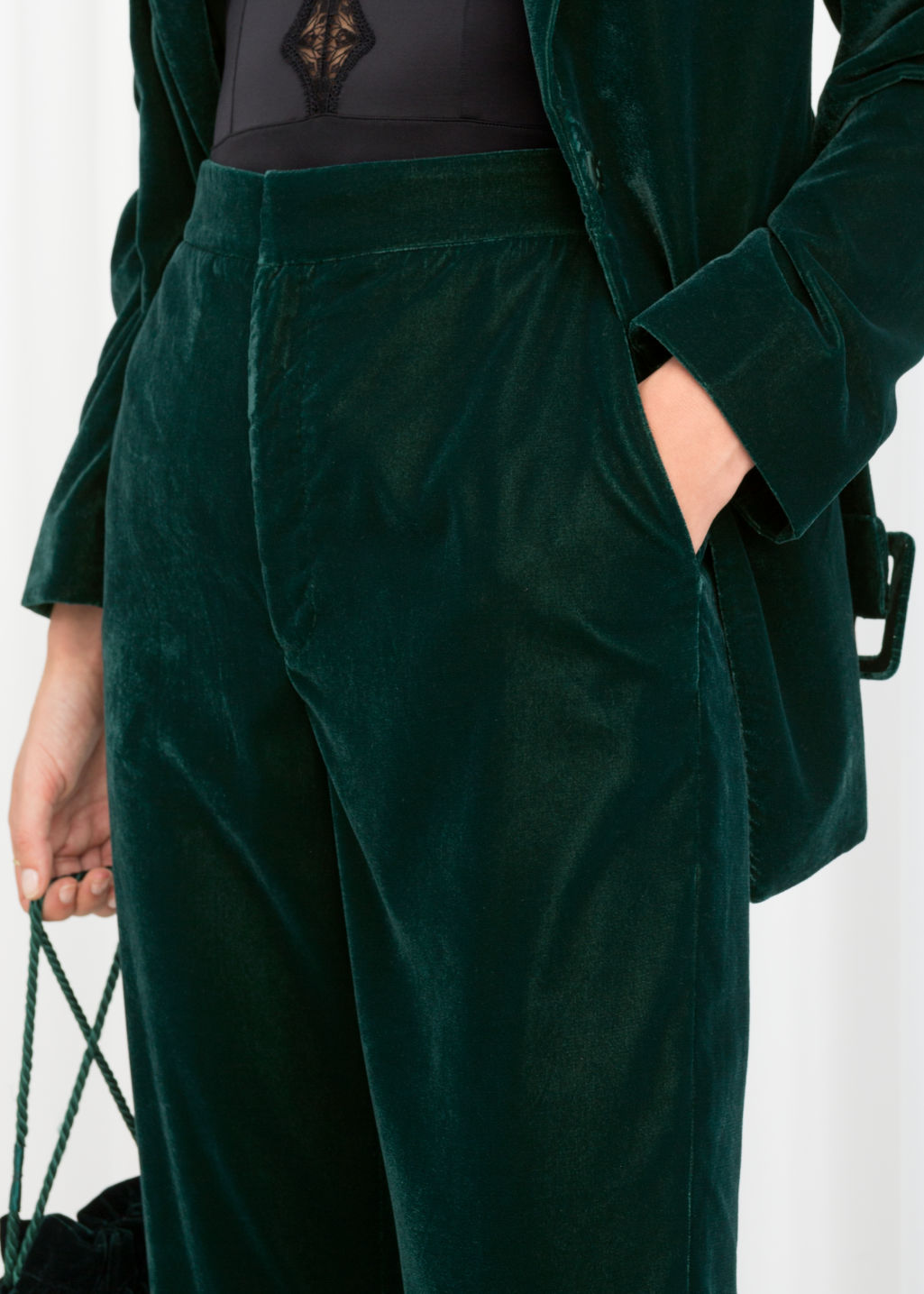 Model back image of Stories high waisted velvet trousers in turquoise
