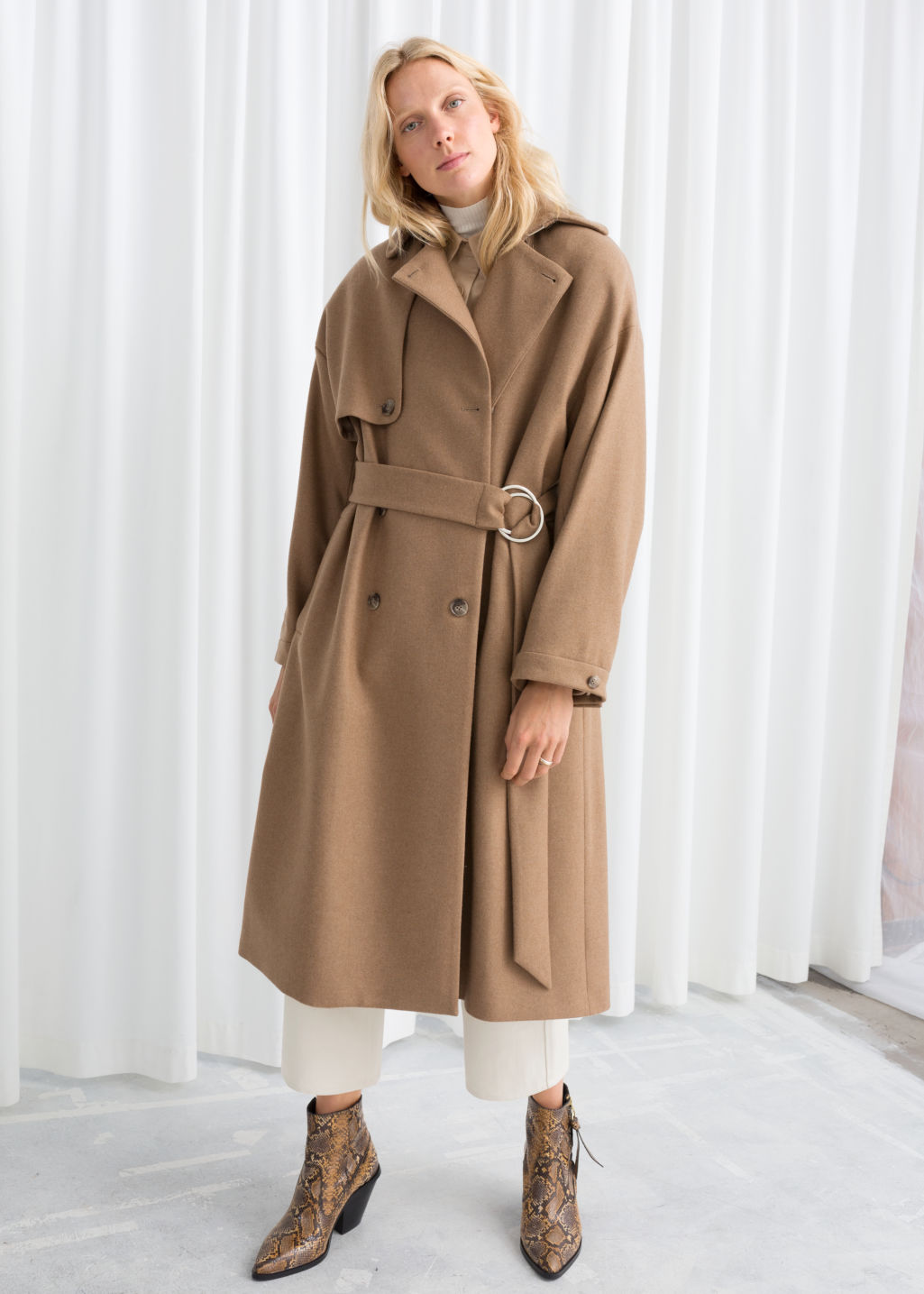Model front image of Stories wool blend tailored coat in beige