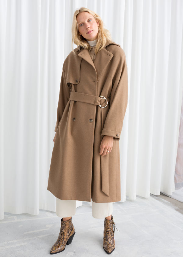 Wool Blend Tailored Coat