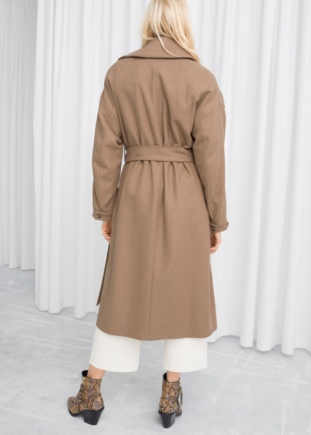 Model back image of Stories wool blend tailored coat in beige
