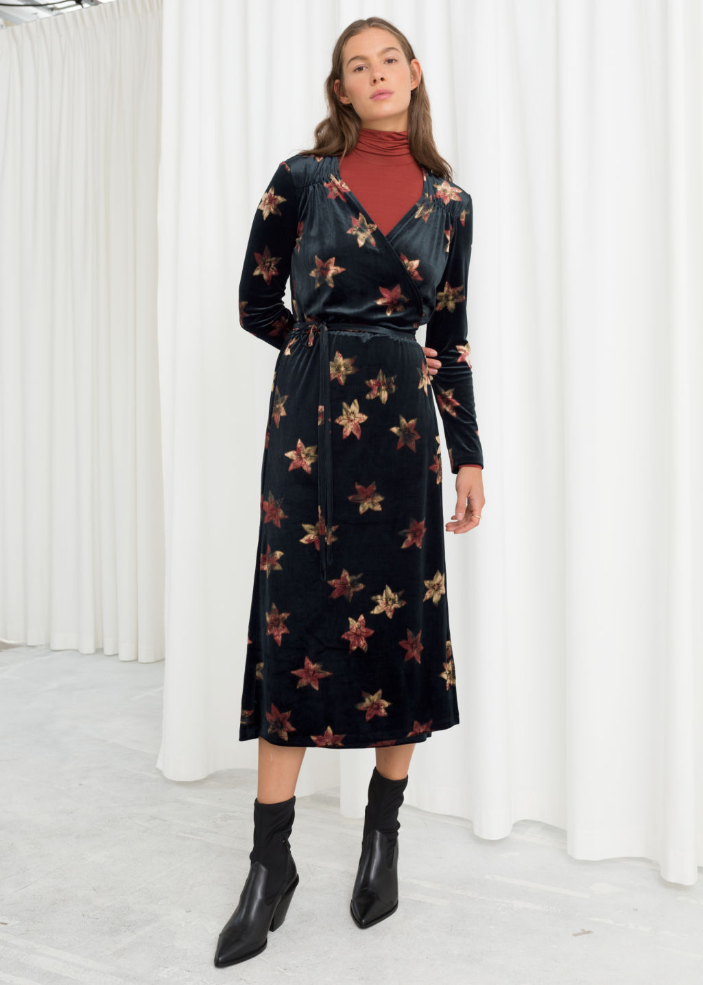 e42097d625 Model front image of Stories floral velour wrap dress in black ...