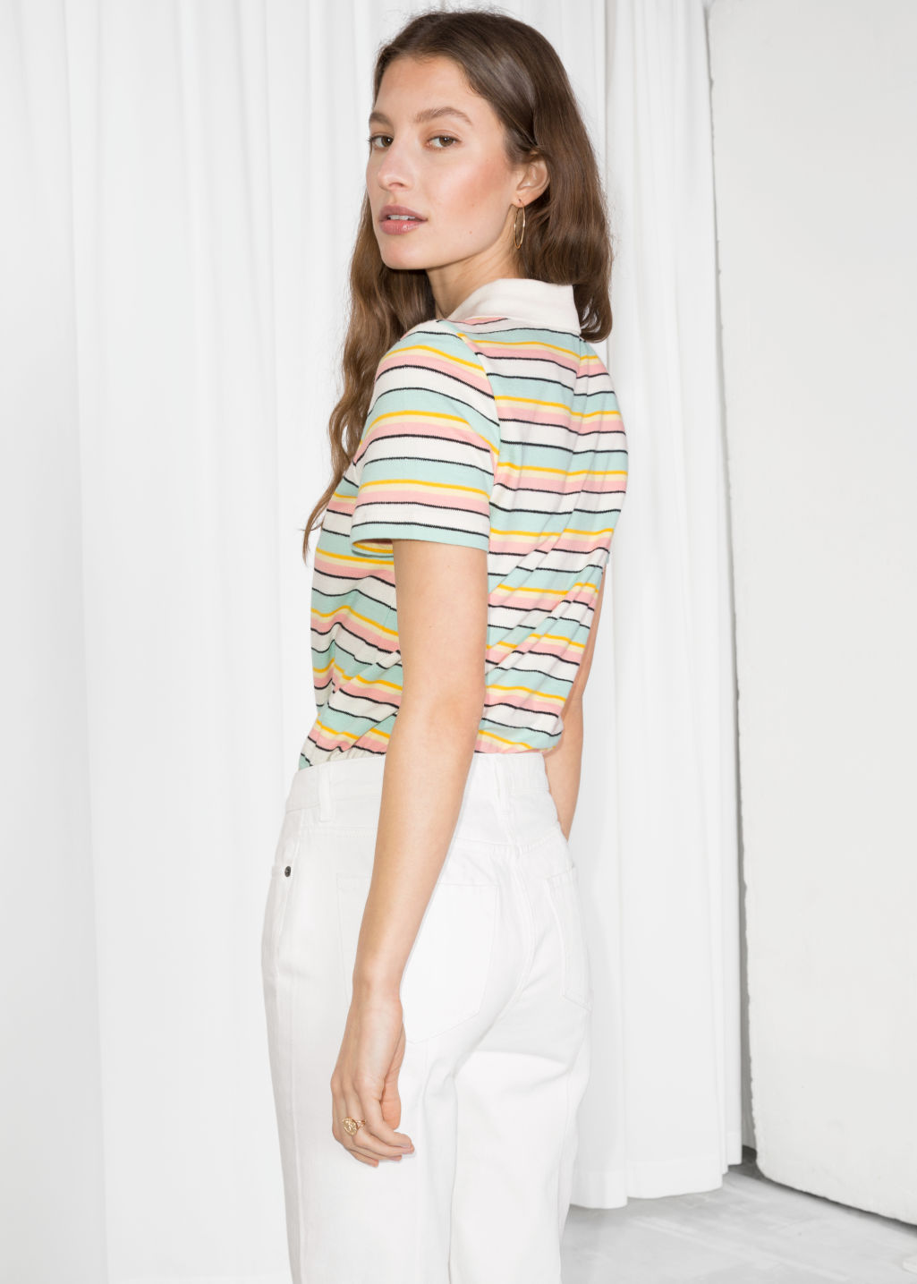 Model back image of Stories striped polo t-shirt in white