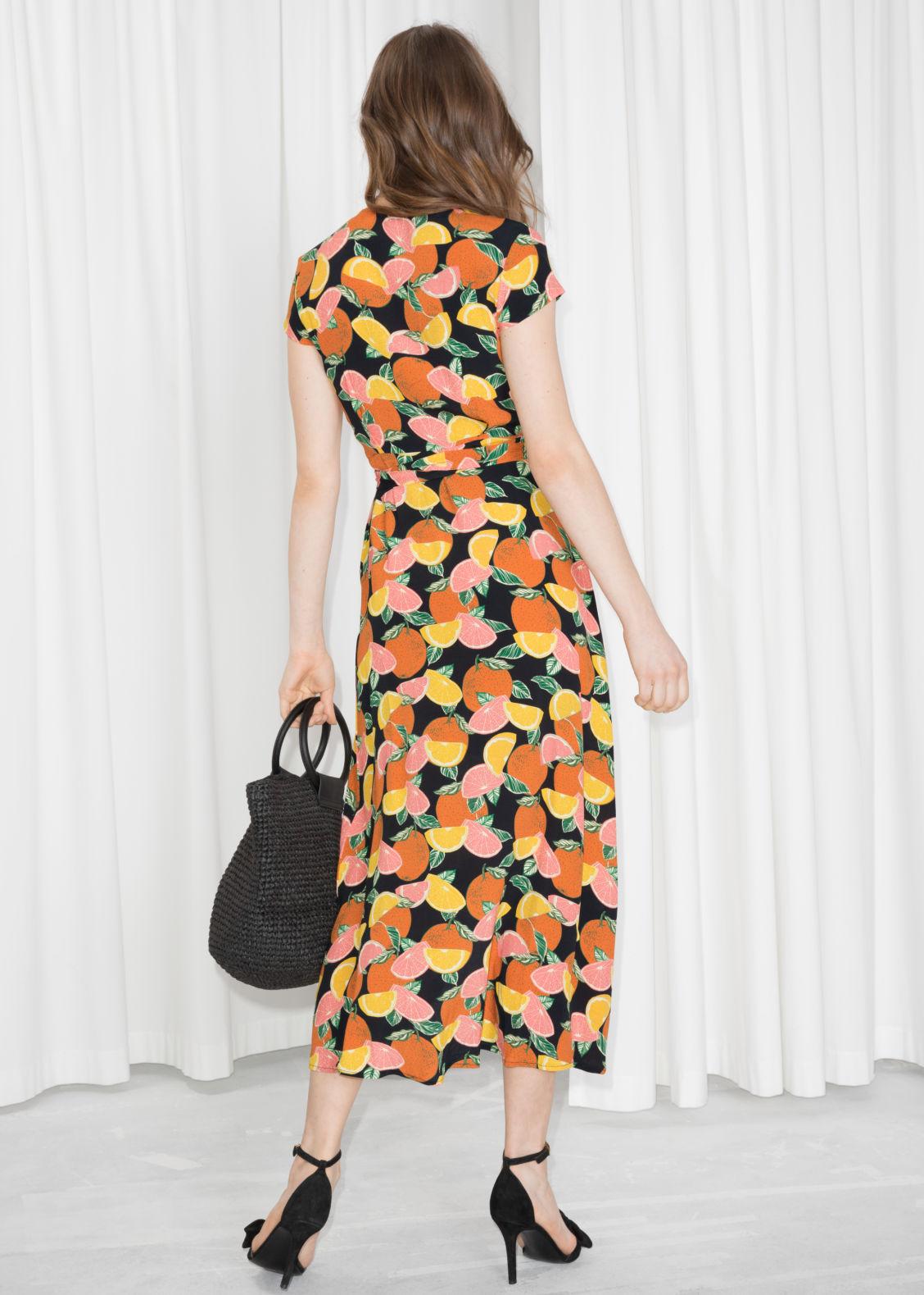 f899d4237ad Curved Hem Midi Wrap Dress - Citrus Print - Wrap dresses -   Other ...