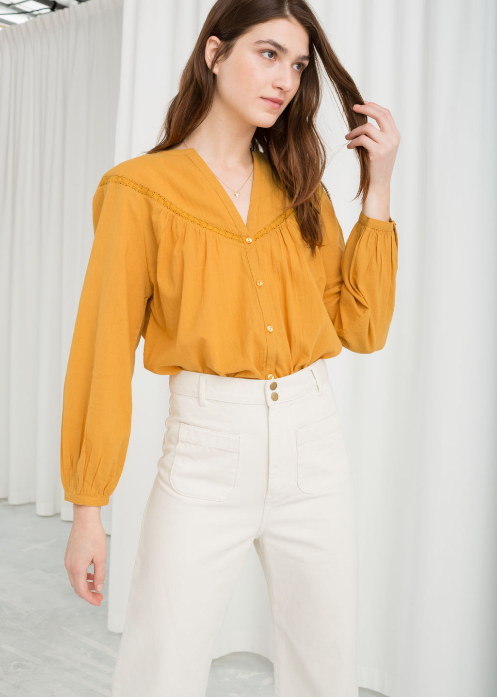 Model front image of Stories cotton peasant blouse in yellow