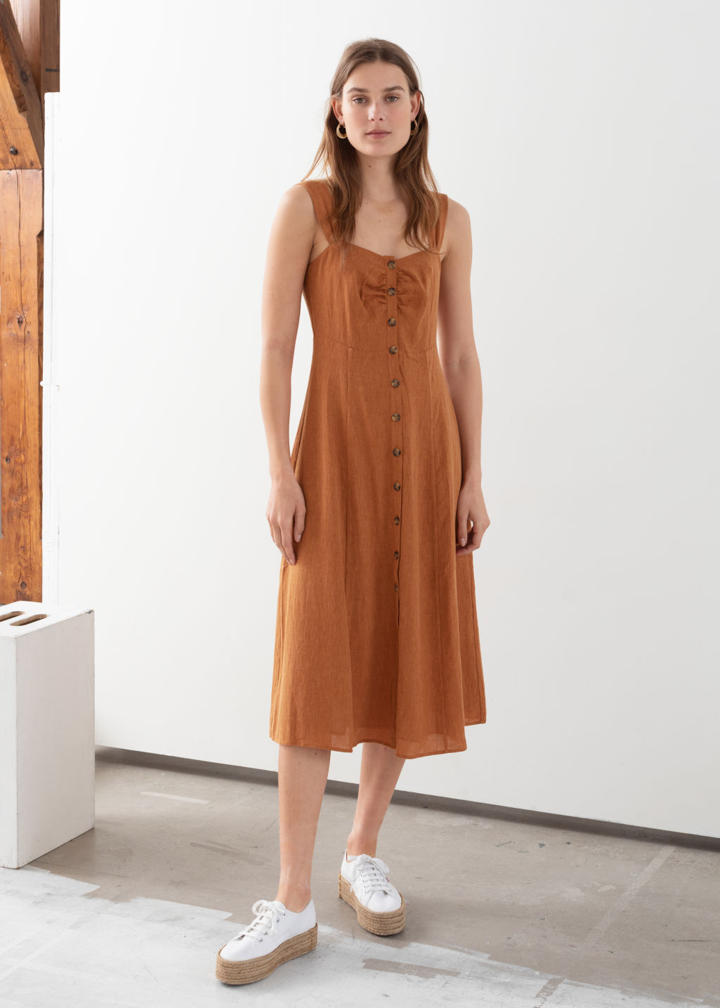Model front image of Stories linen blend midi dress in orange