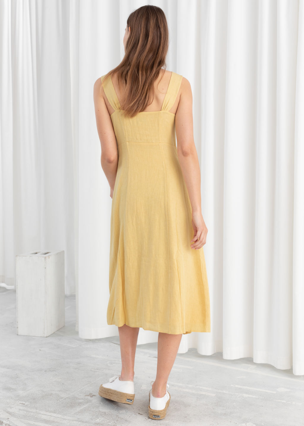 Model back image of Stories linen blend midi dress in yellow