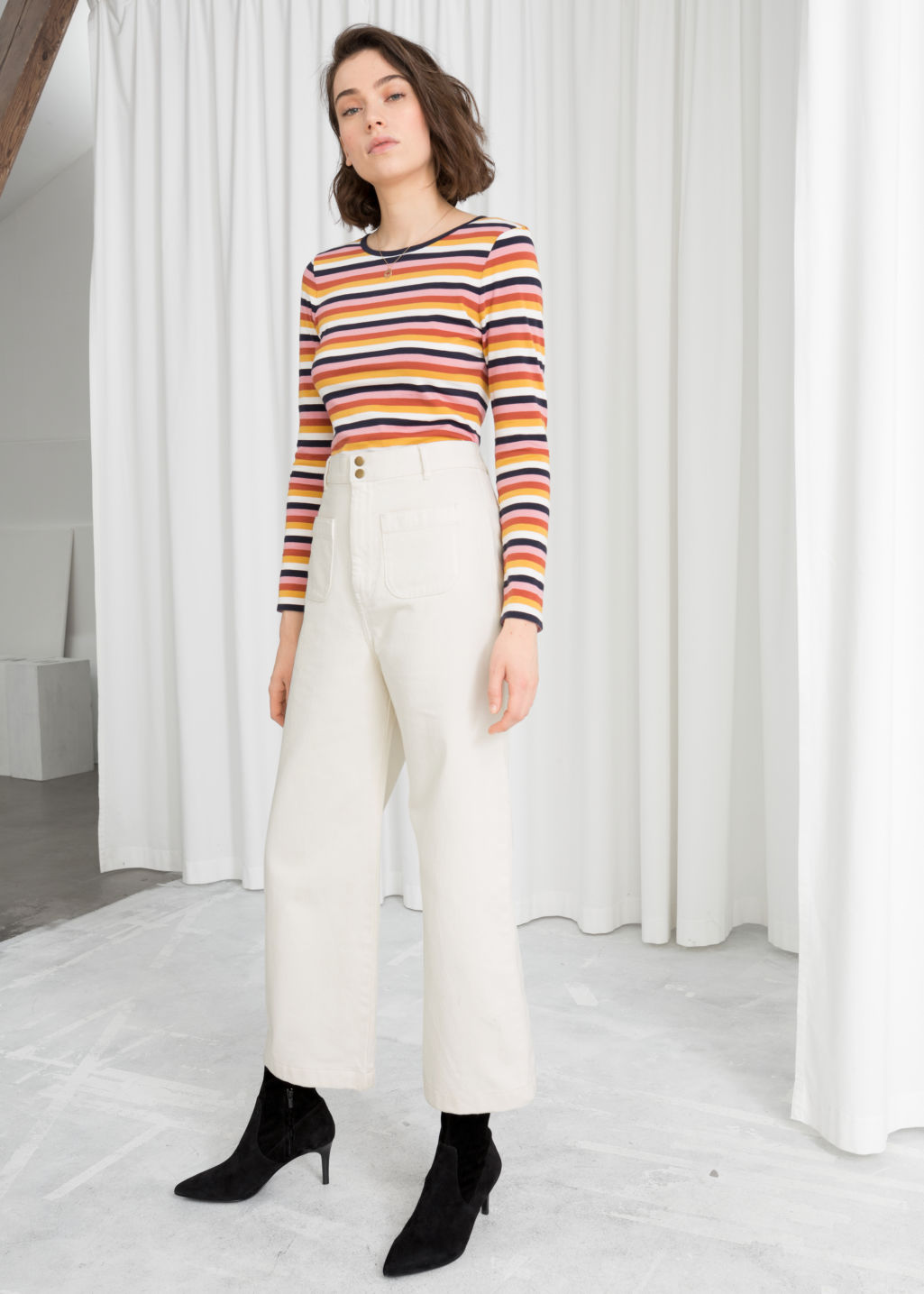Model front image of Stories high waisted twill trousers in white