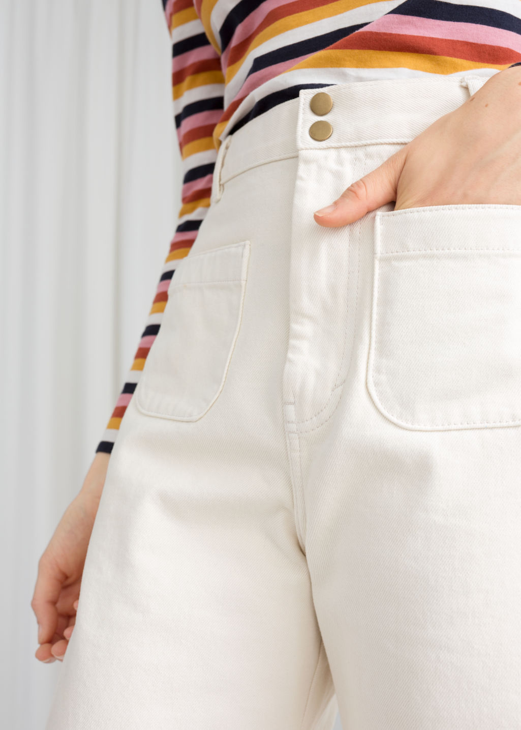 Model back image of Stories high waisted twill trousers in white