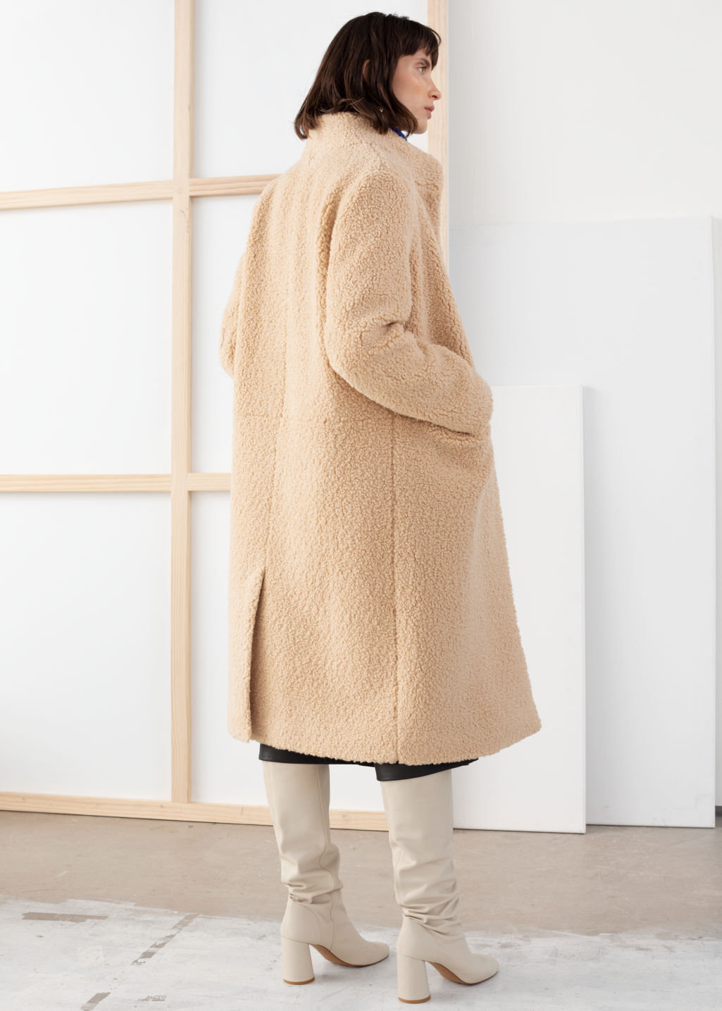 Model back image of Stories faux shearling teddy coat in beige