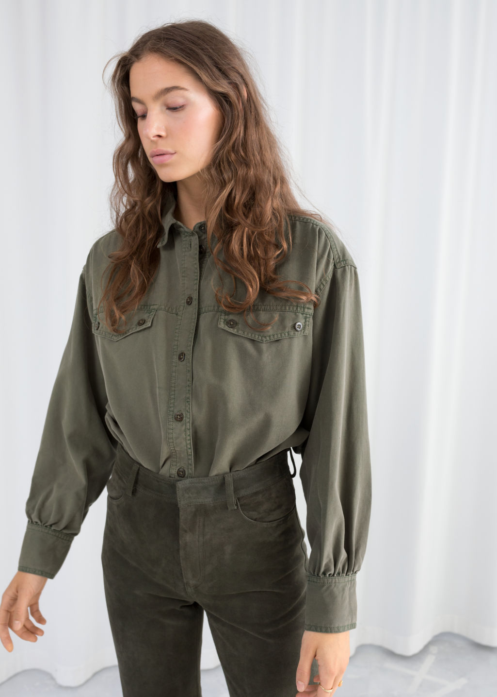 Model front image of Stories boyfriend fit workwear shirt in green