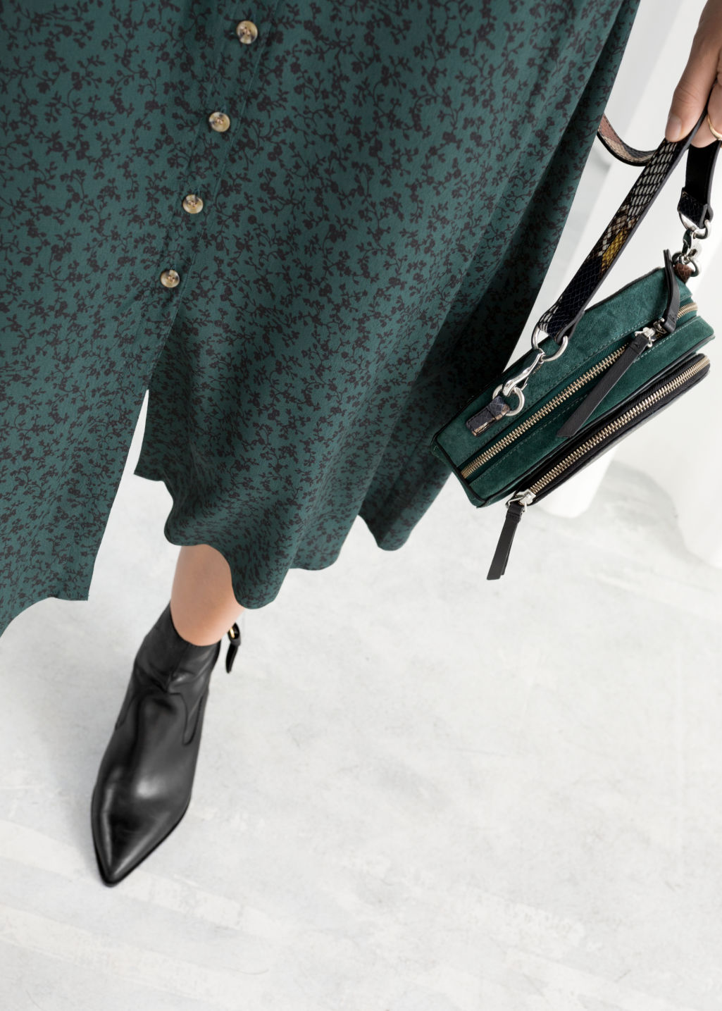 Model back image of Stories printed button down midi dress in green
