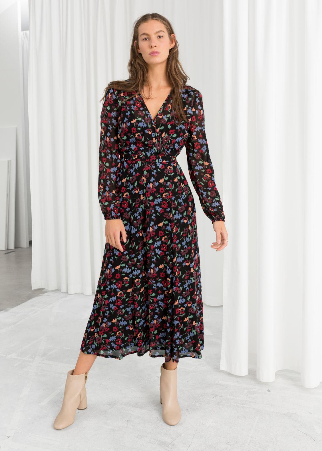 14813fe90013e Floral Print Long Sleeve Midi Dress - PostParc