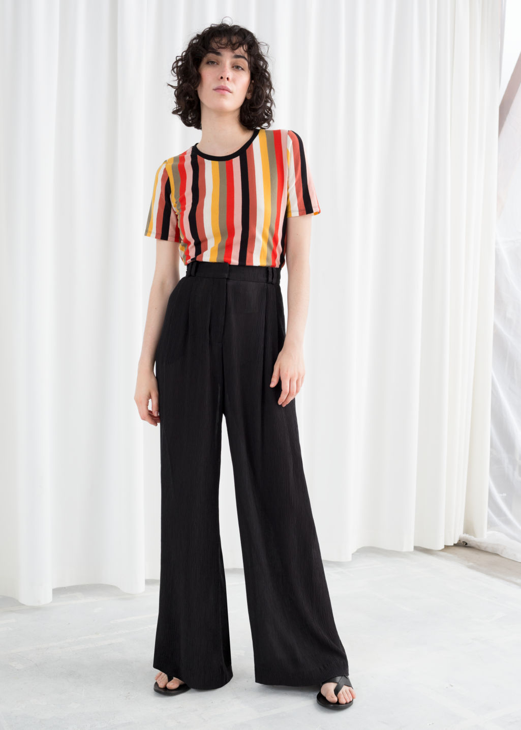 Model front image of Stories high waisted wide trousers in black