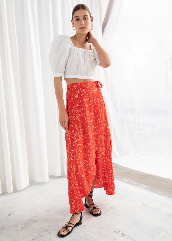 9d38a051762ef0 Asymmetric Wrap Midi Skirt ...