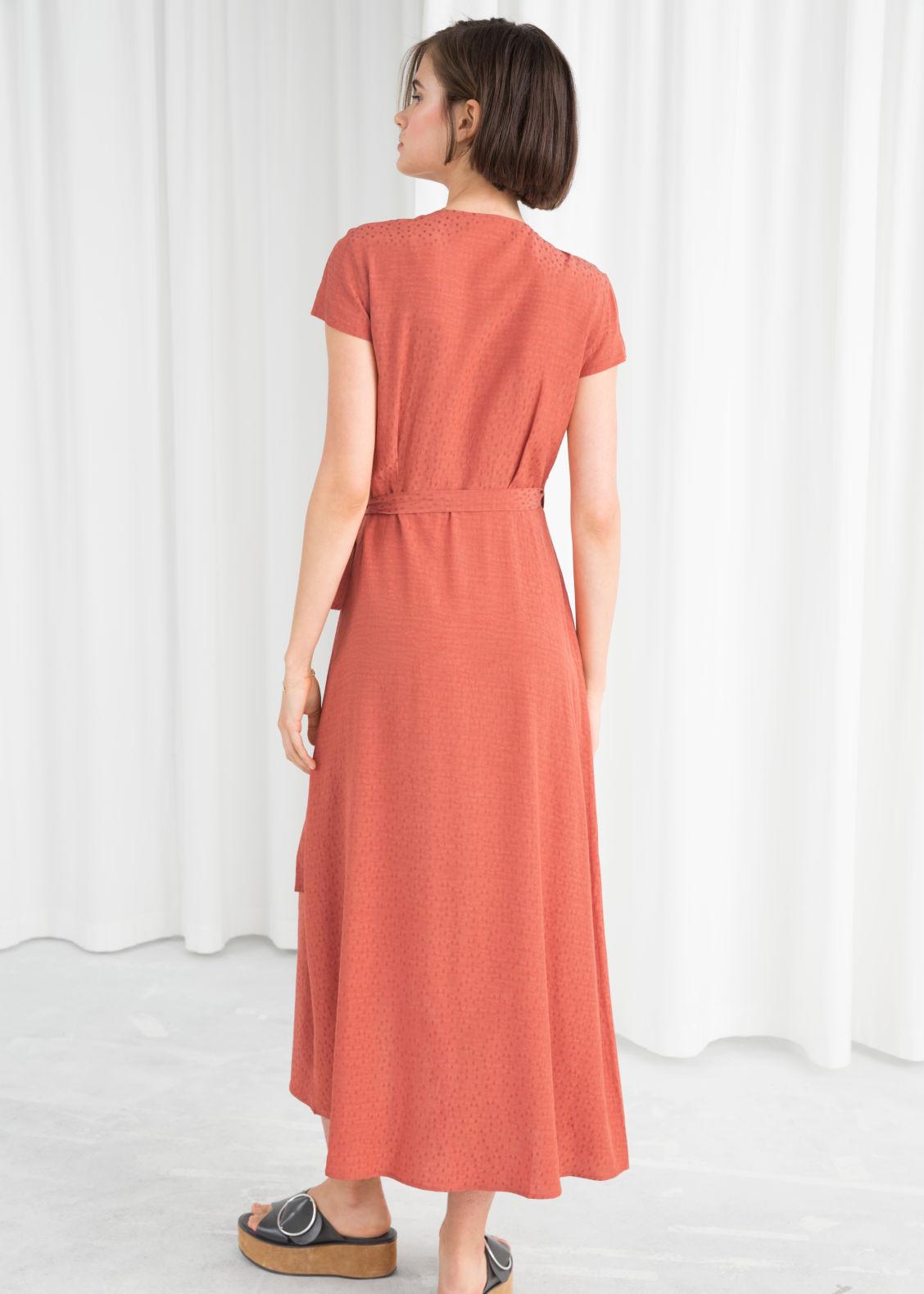 4893e4711a2 Curved Hem Midi Wrap Dress - Salmon - Wrap dresses -   Other Stories