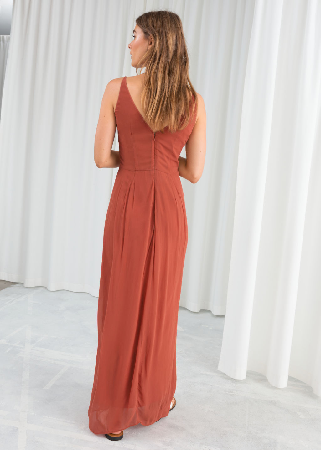 Model back image of Stories knotted maxi dress in orange