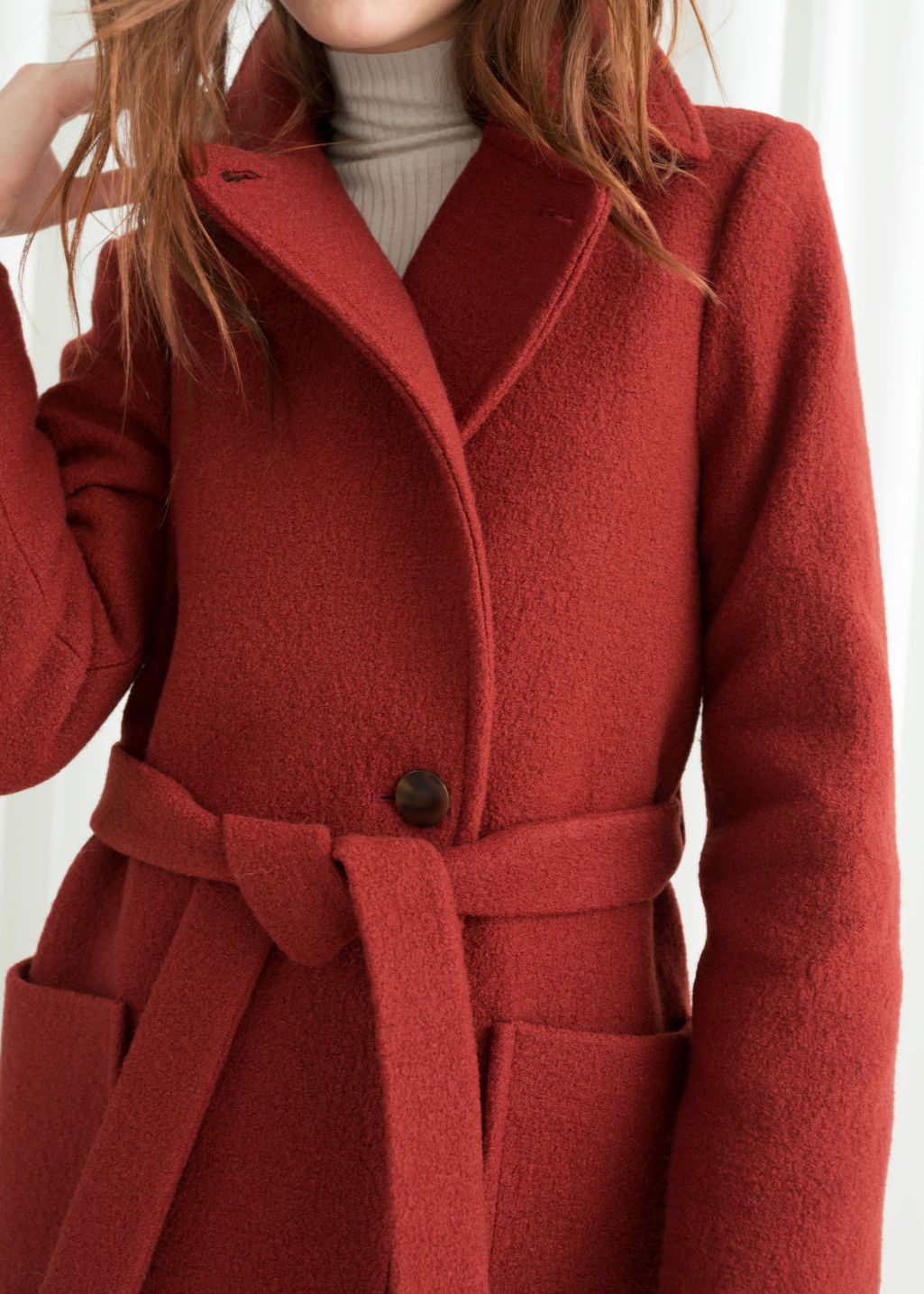 Model back image of Stories belted wool coat in red